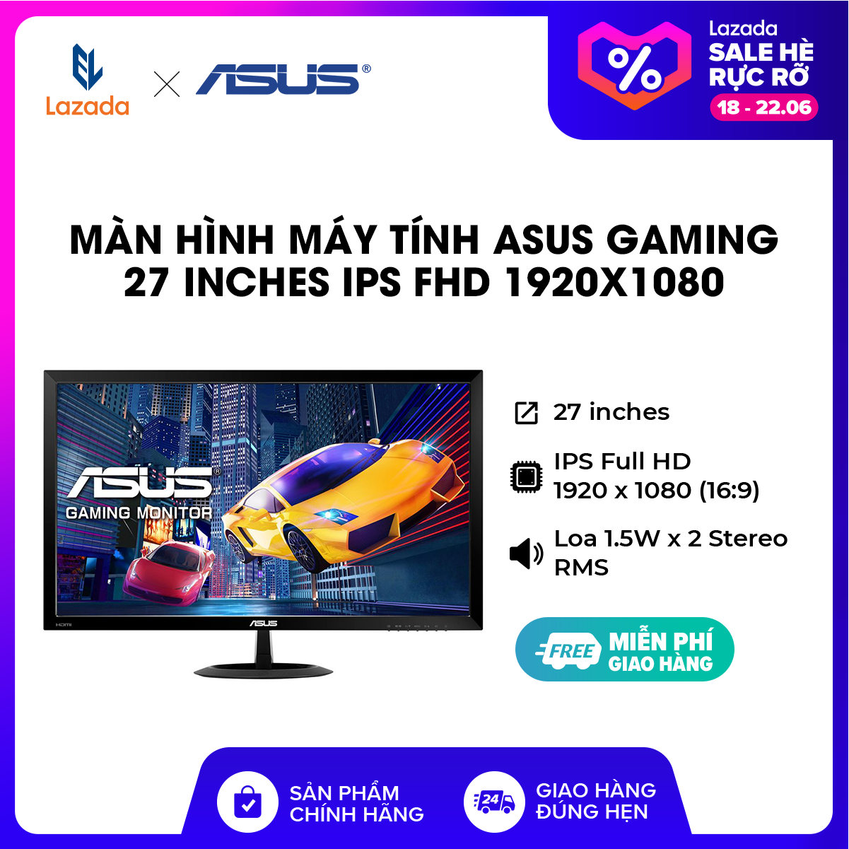 [TRẢ GÓP 0% – HÀNG CHÍNH HÃNG] Màn hình máy tính ASUS Gaming 27 inches IPS FHD 1920×1080 l Low Blue Light l Flicker Free l Loa 1.5W x 2 Stereo RMS