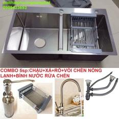 [CHẬU ĐÚC] Combo Chậu Rửa Chén Bát INOX 304 N5 8245 NA.GRAND và Vòi Rửa Chén Nóng Lạnh và Bình Nước Rửa Chén và Rổ Rửa Đa Năng và Xả chậu