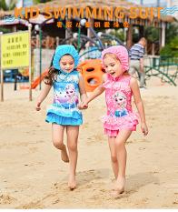 bộ đồ bơi bé gái 1 mảnh màu hồng họa tiết elsa, kèm nón,hàng QC