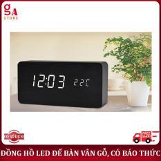 Đồng hồ LED để bàn vân gỗ sang trọng. Hiển thị nhiệt độ