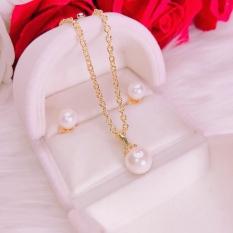 Bộ trang sức vàng GADO SV02, bộ trang sức nữ mạ vàng cao cấp ngọc trai xà cừ nhân tạo đính đá pha lê sáng lấp lánh thiết kế sang trọng – dùng đi tiệc cực kì sang chảnh