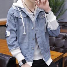Áo Khoác Bò Nam/ Áo Khoác Jean Nam phong cách Hàn Quốc có mũ – thời trang Nami AB03