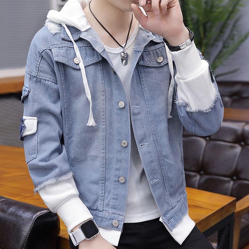 Áo Khoác Bò Nam/ Áo Khoác Jean Nam phong cách Hàn Quốc có mũ - thời trang Nami AB03