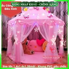 [Hàng Chuẩn Loại 1] (Size to) Lều nhà công chúa ngủ chơi cho bé gái loại cỡ kiểu lục giác Hàn Quốc 1.4m màu hồng