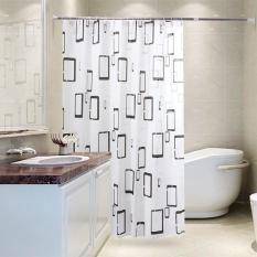 Rèm treo nhà tắm chống thấm họa tiết ô vuông PEVA 200×180 cm