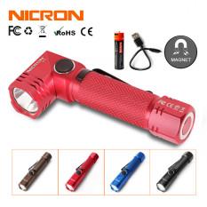 Nicron Đèn pin mini có thể xoay 90 độ siêu sáng với cường độ 600LM/700lm bằng nhôm không thấm nước IP65 sử dụng pin sạc 14500/pin AA B74/B74Camo – INTL