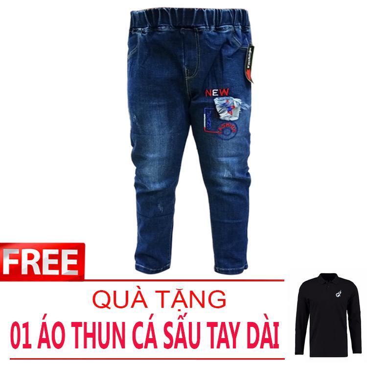 Quần jean dài vải co giãn nhẹ nhàng lưng thun cho bé 15-28kg