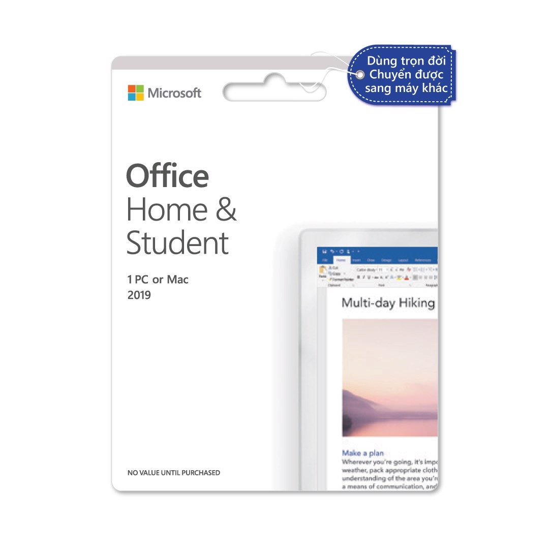 Phần mềm Office Home & Student 2019  Dùng vĩnh viễn  Dành cho 1 người, 1 thiết bị  Word, Excel, PowerPoint