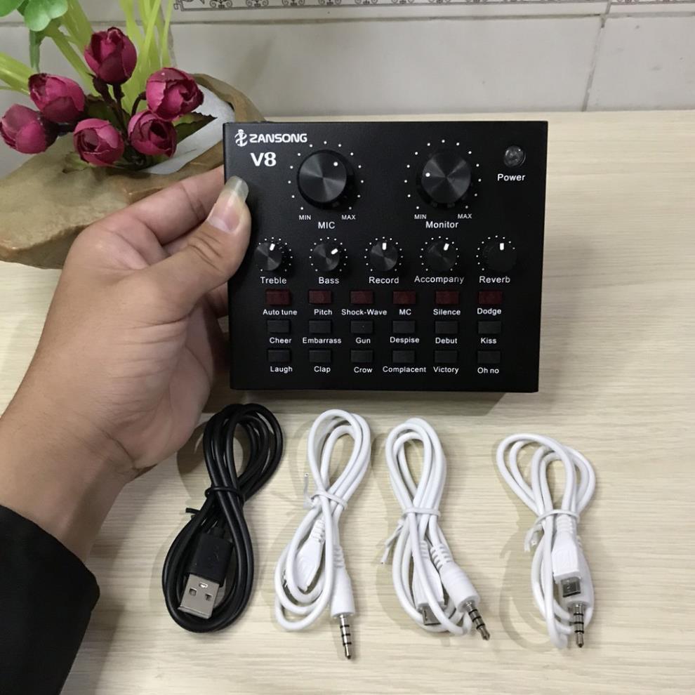 Sound Card ZanSong V8 Bluetooth - Loại 1- Chuyên Hát Thu Âm Livestream Karaoke