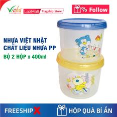 [2 hộp nhựa] Hộp Nhựa Việt Nhật có nắp vặn. Chất liệu nhưa PP an toàn. Dung tích hộp 400 ml.
