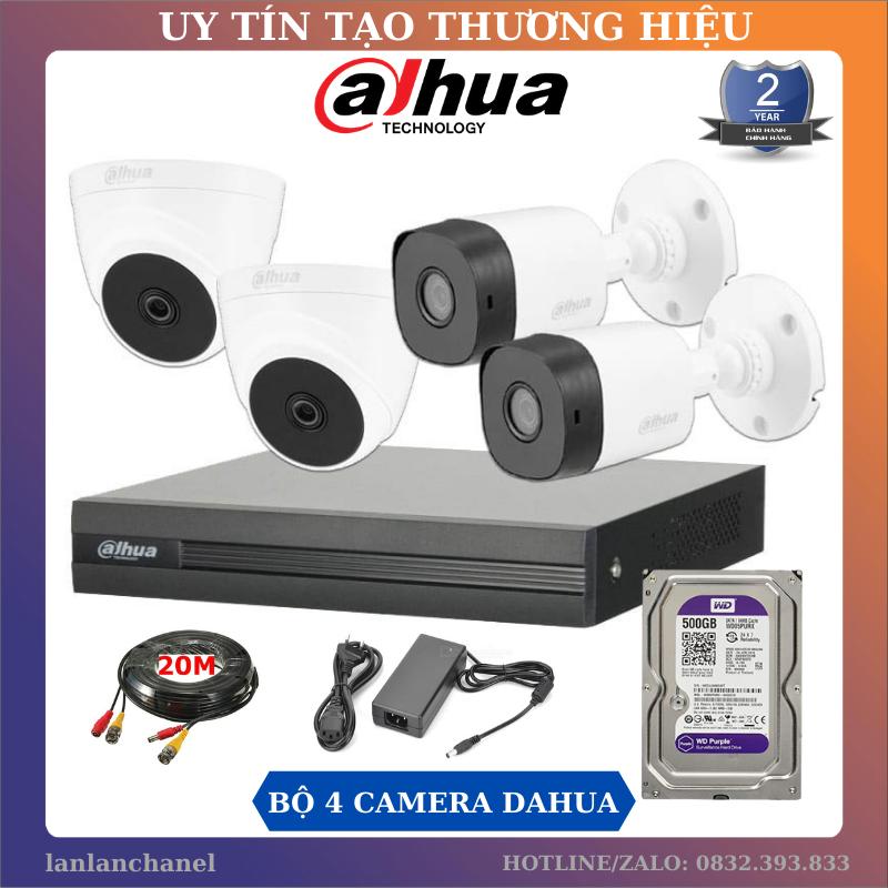Trọn Bộ 4 Mắt Camera Dahua 2.0MP & Đầu Ghi Hình Dahua 4 Kênh XVR-1A04, Tặng Kèm Ổ Cứng 500GB và Dây HDMI 1,5M, Nguồn và Dây