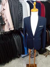 Áo vest nam ôm body màu xanh đen đậm chất liệu vải dày mịn co giãn