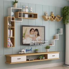 Set Kệ Tivi Treo tường phòng khách màu Trắng-Vân gỗ sồi NT704