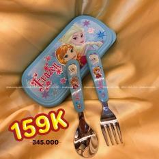 Set muỗng và nĩa inox kèm hộp đựng nhỏ hình công chúa Elsa và Anna Frozen Disney màu xanh dương cho bé gái ăn uống – DP2080