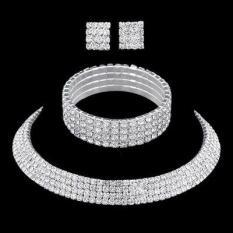 Bộ trang sức 3 món vòng cổ, vòng tay, bông tai bản lớn đính đá cao cấp