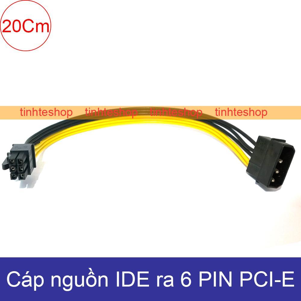 Cáp nguồn 1 molex IDE/ATA 4pin PSU ra molex 6pin PCI-E - Cáp ngồn card màn hình 6pin 20Cm DIY