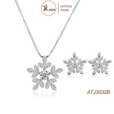 Bộ trang sức bạc Hình hoa tuyết trắng thời trang sành điệu dành cho các nàng xinh đẹp ANTA Jewelry -ATJ3032B