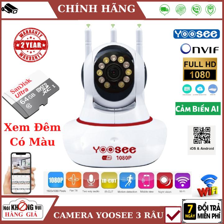 (BẢN NÂNG CẤP 2021), Camera Wifi Yoosee 3 râu 2.0 MPX – FullHD , 11 led Xem đêm có màu , cảm biến AI thông minh , đàm thoại 2 chiều , camera mini , camera ip , camera yoosee , camera 3 râu , camera giá rẻ , camera an ninh