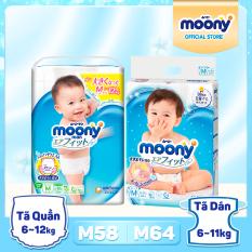 [SIZE M] Tã/bỉm cao cấp Moony size M – Phân loại: Tã Dán M64/ Tã Quần M58