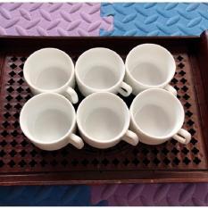 Bộ 6 chén/tách sứ siêu trắng dáng vuông Bát Tràng