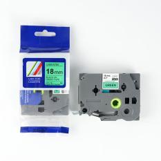 Nhãn in CPT-741 tương thích máy in nhãn Brother P-Touch – Nhãn in chữ đen nền xanh lá khổ 18mm