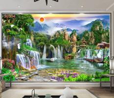 Tranh dán tường 3D Phòng Khách/ Sơn Thủy Hữu Tình,354( Đã tích hợp sẵn keo)