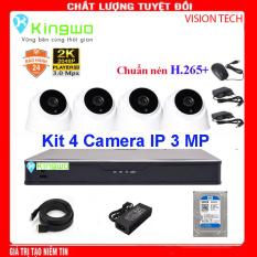 Trọn bộ camera 4 mắt – trọn bộ 4 camera-Bộ KIT 4 camera IP (4 Dome) 3.0MP KingWo – Có ổ cứng 500G, chống nước-Bảo hành 2 năm 1 đổi 1-Bộ 4 Camera Hikvision – Trọn bộ 4 mắt camera – Trọn bộ camera giám sát 4 mắt – Phụ kiện đầy đủ