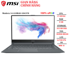 Laptop MSI Modern 14 A10RAS-1041VN i7-10510U | 8GB | 512GB | MX330 2GB | 14″ FHD | Win 10