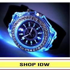 [Có video quay thật] Đồng hồ nam phát sáng size 4cm dây silicon thời trang Geneva IDW 0451 (Dây đen)