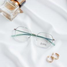 [LẮP SẴN CẬN]Gọng kính cận nữ, gọng cận kim loại, mắt kính đa giác, tròng kính đổi màu, chống ánh sáng xanh Z30070G
