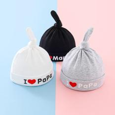 Mũ thắt nút i love mama, i love papa cho bé trai và bé gái sơ sinh, nhiều màu