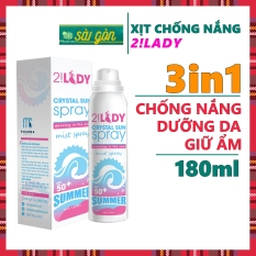 Xịt chống nắng DƯỠNG ẨM, NÂNG TONE 2!Lady Crystal Sun Spray Dạng Xịt phun sương 180ml