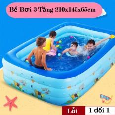 Bể Bơi Cho Bé, Bể Bơi Trẻ Em 3 Tầng. Bể bơi phao cho bé Cỡ lớn cho bé và gia đình – loại dày tặng kèm Miếng Vá, hồ tắm cho trẻ em dùng làm quà tặng