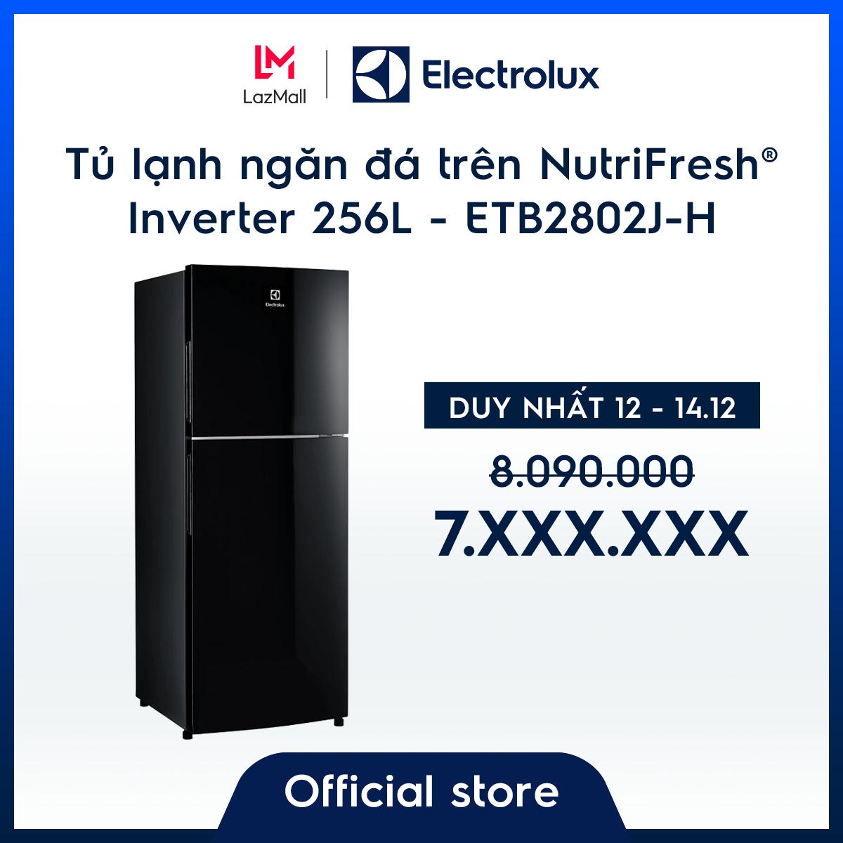[Miễn phí giao hàng HCM & HN] Tủ lạnh Electrolux 256L ETB2802J-H – Màu đen độc đáo – Ngăn đông mềm giữ thực phẩm tươi ngon – Khử mùi diệt khuẩn – Hàng chính hãng