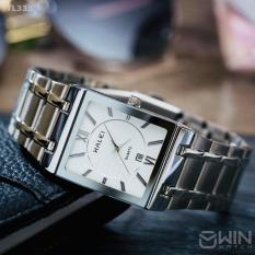 đồng hồ nam halei mặt vuông dây bạc mặt trắng có lịch (tặng kèm pin )