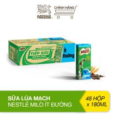 Thùng 48 hộp sữa lúa mạch Nestlé Milo ít đường (48x180ml)