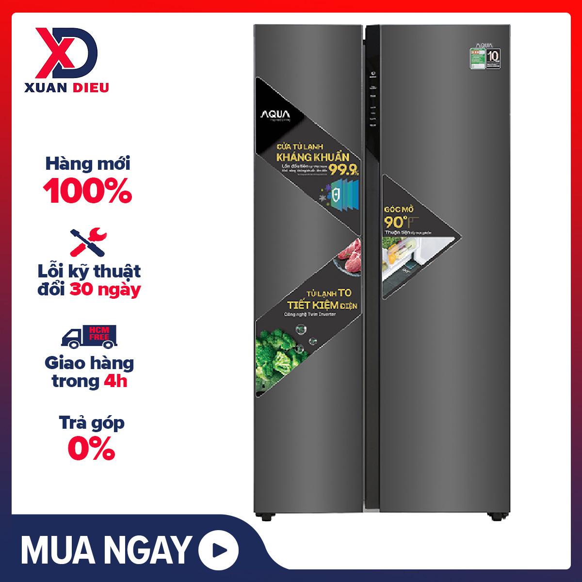 [HCM][Trả góp 0%]Tủ lạnh Aqua Inverter 541 lít AQR-S541XA(BL) Mới 2020 Chế độ kỳ nghỉ tiết kiệm điện Chế độ thông minh tự điều chỉnh nhiệt độ các ngăn Làm lạnh đa chiều Công nghệ kháng khuẩn Kháng khuẩn khử mùi DEO Fresh