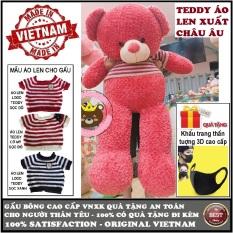 Gấu bông Teddy mặc áo len size 1,6m khổ vải (gấu cao 1,4m) cao cấp màu nâu xám khói và màu hồng xuất châu âu, quà tặng an toàn cho trẻ và người thân