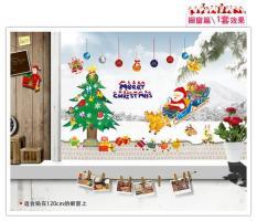 Decal noel Ông Già Noel kéo tàu Giáng Sinh phối cây thông Chống Thấm Nước Decal Dán Tường cho Cửa Sổ Kính Trang Trí Nhà CửA