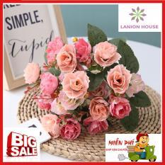 [Luôn cháy hàng vì quá đẹp] 1 cành 21 bông hồng Kim Cương, hoa nhân tạo cao cấp, hoa giả trang trí, hoa giả treo tường, hoa giả, hoa giả để bàn, hoa silicon, hoa giả cao cấp MS 06