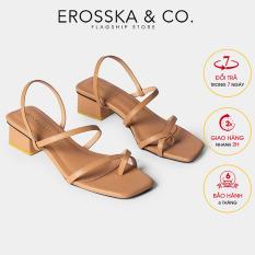 Giày sandal cao gót nữ Erosska kiểu dáng xỏ ngón dây mảnh thời trang cao 5cm EB024 (BR)