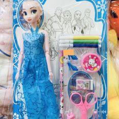Búp bê Elsa tay khớp và đồ chơi tô màu cho bé