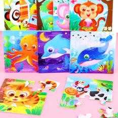 Tranh ghép gỗ 9 miếng chủ đề động vật và phương tiện giao thông đa dạng đáng yêu đủ màu sắc cho bé yêu BBShine – DC019