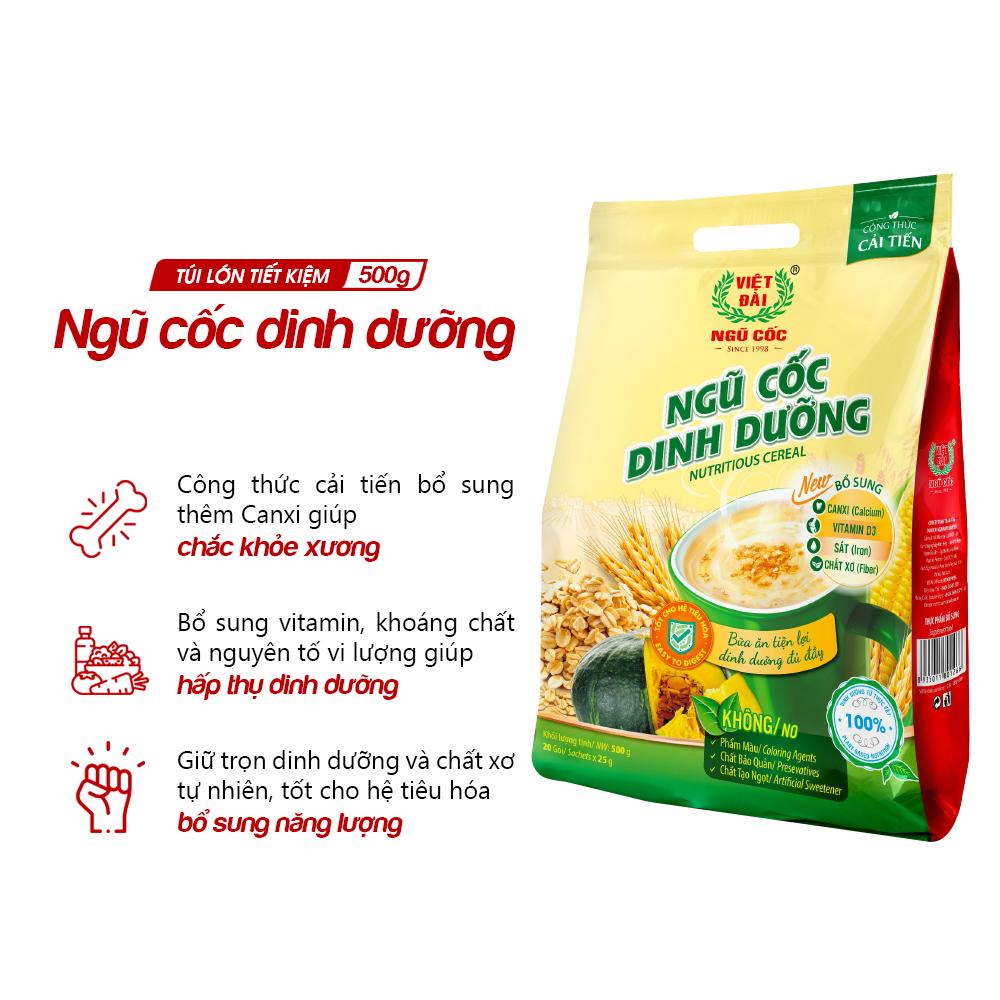 Bột ngũ cốc dinh dưỡng Việt Đài túi 500g (tặng kèm cốc sứ Việt Đài)