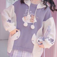 (HDC)Mùa thu và mùa đông Nhật Bản cô gái mềm mại tai thỏ dễ thương chiến đấu giả cừu Sinh viên Hàn Quốc áo len hoang dã nữ sinh áo khoác đại học