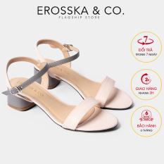 dép cao gót nữ 3p đi học Erosska mũi tròn phối dây nhiều màu tinh tế cao EB019 (GR)