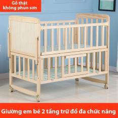 giường em bé gỗ mộc đa chức năng nhiều tầng nôi em bé không phun sơn có thể di động TopOne2020