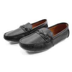 Giày Trẻ Em Bé Trai Kiểu Giày Mọi Da Bò Thật Cực Mềm Cực Bền Ensado BY07LG (Đen – Vàng)