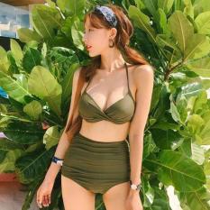 Bikini 2 mãnh áo xoắn xanh rêu