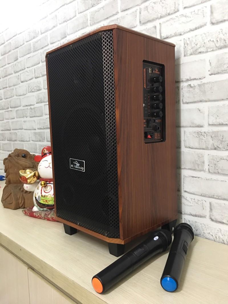 [ ĐƯỢC THỬ LOA ] Loa kẹo kéo karaoke Kiomic k88 thùng gỗ bass siêu hay tặng kèm 2 mic...